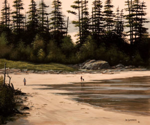 "SOLD ""Along Tofino's Coast,"" by Bill Saunders 15 x 18 - acrylic $1550 Unframed $1970 in show frame"