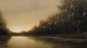 "SOLD ""Amber Light,"" by Renato Muccillo 5 x 9 - oil $1250 in show frame"