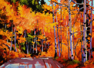 "SOLD ""Aspen Road,"" by Mike Svob 12 x 16 - acrylic $1375 in show frame $1150 Unframed"