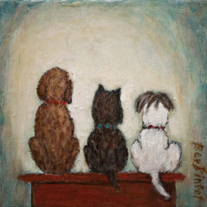 "SOLD ""At the Count of Three, Howl"" by Bev Binfet 6 x 6 - acrylic/mixed media $300 Unframed $385 in show frame"