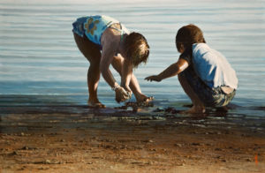 "SOLD ""Beach Buddies,"" by Alan Wylie 12 x 18 - oil $2930 in show frame $2690 Unframed"
