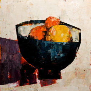 "SOLD ""Bowl of Fruit, Purple Shade,"" by Constance Bachmann 14 x 14 - acrylic $1200 (thick canvas wrap without frame) $1320 in show frame"