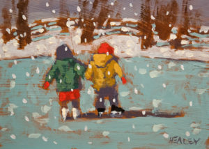 "SOLD ""Brother and Sister,"" by Paul Healey 5 x 7 - acrylic $250 Unframed $425 in show frame"