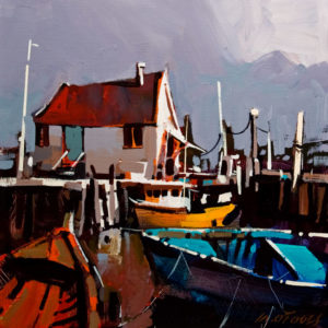 "SOLD ""Dockside Twist,"" by Michael O'Toole 12 x 12 - acrylic $800 Unframed $925 in show frame"