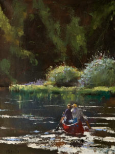 "SOLD ""Down the River,"" by Paul Healey 12 x 16 – oil $650 Unframed"