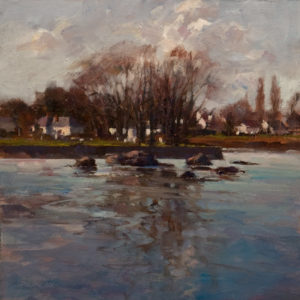"SOLD ""Dusk,"" by Deborah Tilby 6 x 6 - oil $450 Unframed $630 in show frame"