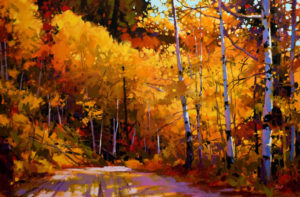 "SOLD ""Fall Aspen,"" by Mike Svob 24 x 36 - acrylic $4930 in show frame $4400 Unframed"
