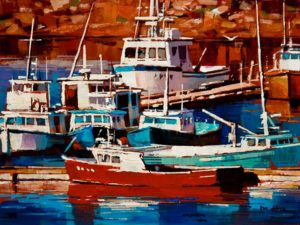 "SOLD ""Fishing Boats,"" by Min Ma 6 x 8 - acrylic $510 Unframed $645 in show frame"