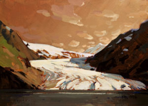 "SOLD ""Glaciers,"" by Min Ma 5 x 7 - acrylic $450 Unframed $575 in show frame"