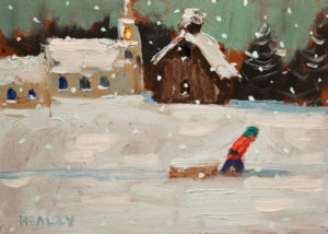"SOLD ""Going Home,"" by Paul Healey 5 x 7 - acrylic $250 Unframed $425 in show frame"