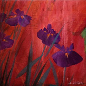 "SOLD ""Irises in Red I,"" by Don Li-Leger 9 1/4 x 9 1/4 - acrylic $650 as thick canvas wrap without frame $760 in show frame"