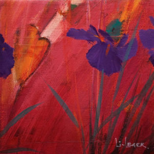 "SOLD ""Irises in Red II,"" by Don Li-Leger 9 1/4 x 9 1/4 - acrylic $650 as thick canvas wrap without frame $760 in show frame"