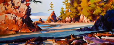 "SOLD ""January Sunset (Brady's Beach),"" by Mike Svob 24 x 60 - acrylic $7930 in show frame $7200 as thick canvas wrap without frame"