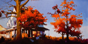 "SOLD ""Late Afternoon,"" by Mike Svob 15 x 30 - acrylic $2860 in show frame $2475 Unframed"