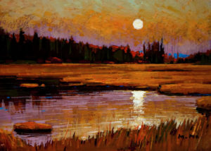 "SOLD ""Moon Whispers,"" by Min Ma 5 x 7 - acrylic $450 Unframed $575 in show frame"