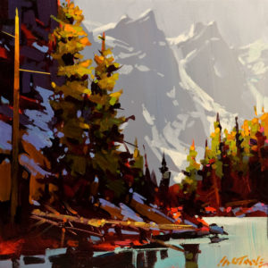 "SOLD ""Moraine Lake - Touch of Grey,"" by Michael O'Toole 12 x 12 - acrylic $800 Unframed $925 in show frame"
