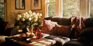 "SOLD ""Morning Light,"" by Alan Wylie 18 x 36 - oil $7950 in show frame $7110 Unframed"