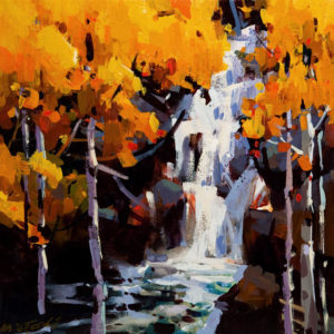 "SOLD ""Poplar Falls,"" by Michael O'Toole 12 x 12 - acrylic $800 Unframed $1015 in show frame"