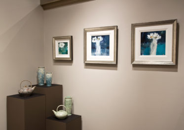 crystalline-glaze ceramics by Bill Boyd, paintings by Susan Flaig