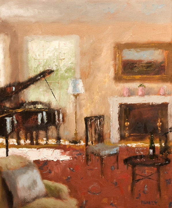 SOLD ``Salon,`` by Paul Healey 20 x 24 - oil $1450 Unframed