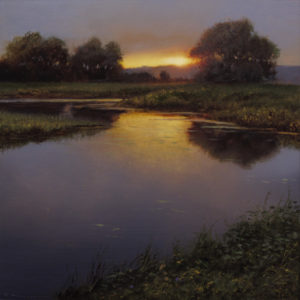 "SOLD ""September Still Water,"" by Renato Muccillo 5 x 5 - oil on mylar $1150 in show frame"