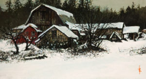 "SOLD ""Snow Bound,"" by Alan Wylie 6 x 11 - acrylic $1080 Unframed $1250 in show frame"
