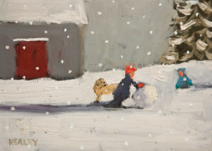 "SOLD ""Snowfall,"" by Paul Healey 5 x 7 - oil $250 Unframed $425 in show frame"