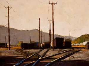 "SOLD ""The Station,"" by Min Ma 6 x 8 - acrylic $510 Unframed $645 in show frame"