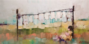 "SOLD ""Study: the day the laundry got the better of me,"" by Angela Morgan 12 x 24 - oil $1000 (thick canvas wrap without frame)"