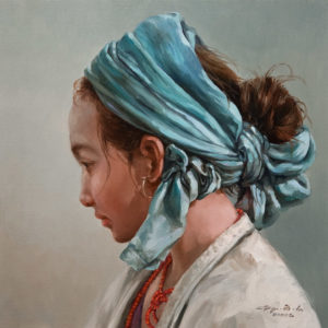 "SOLD ""Teal Scarf,"" by Donna Zhang 12 x 12 - oil $1220 Unframed $1530 in show frame"