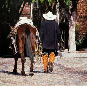 "SOLD ""Two Amigos,"" by Alan Wylie 16 x 16 - oil $3325 in show frame $3080 Unframed"