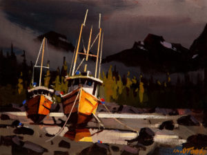 "SOLD ""Two Left by the Tide,"" by Michael O'Toole 9 x 12 - acrylic $660 Unframed $885 in show frame"