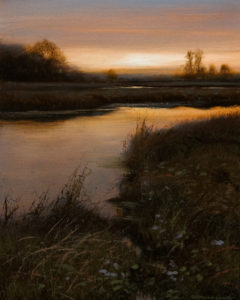 "SOLD ""Valley Marsh - Dusk,"" by Renato Muccillo 4 x 5 - oil $1090 in show frame"