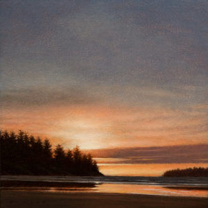"SOLD ""West Coast Sunset,"" by Ray Ward 8 x 8 - oil $625 Unframed $790 in show frame"