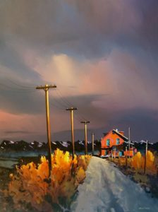 "SOLD ""Homestead of 1936,"" by Michael O'Toole 36 x 48 – acrylic $3750 (thick canvas wrap without frame)"