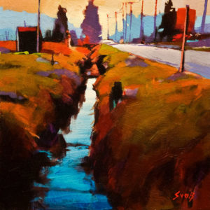 """SOLD """"40th Avenue,"""" by Mike Svob 12 x 12 – acrylic $975 Unframed"""