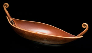 "SOLD ""Slipper Boat"" (LR-095), by Laurie Rolland hand-built ceramic - 15"" (L) x 6"" (H) x 6"" (W) $175"