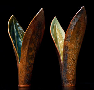 """Double-leaf vases"" (LR-098 SOLD [left] and LR-097 SOLD [right]), by Laurie Rolland hand-built ceramic - each 14"" (H) $180 each"