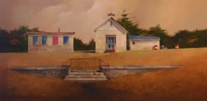 "SOLD ""Abandoned Community Centre,"" by Mark Fletcher 24 x 48 – acrylic $3325 Framed"