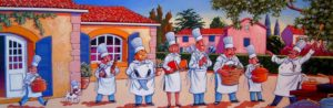 "SOLD ""About to Launch Culinary Fireworks,"" by Michael Stockdale 12 x 36 – acrylic $1035 Framed"
