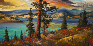 "SOLD ""Across Kalamalka Lake,"" by Rod Charlesworth 24 x 48 – oil $4100 Unframed"
