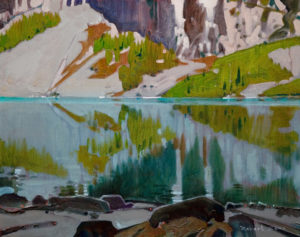 "SOLD ""Across Lake Louise From the Tea-House Trail,"" by Robert Genn 16 x 20 – acrylic $4000 Unframed"