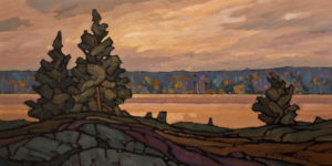 "SOLD ""Across the River,"" by Phil Buytendorp 8 x 16 – oil $800 Unframed"
