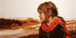 "SOLD ""Across the Water,"" by Donna Zhang 24 x 48 – oil $7000 Custom framed $6450 Unframed"