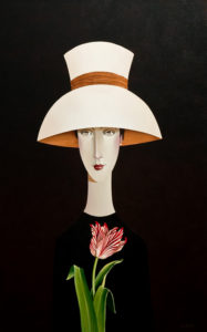 "SOLD ""Adele and the Tulip,"" by Danny McBride 24 x 36 – acrylic $3400 (thick canvas wrap without frame)"