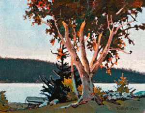 "SOLD ""Afternoon at Hollyhock, Cortes Island, Summer of 2013,"" by Robert Genn 14 x 18 – acrylic $5000 Unframed"