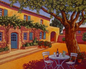 "SOLD ""Afternoon Refreshments,"" by Michael Stockdale 16 x 20 – acrylic $1000 Framed"
