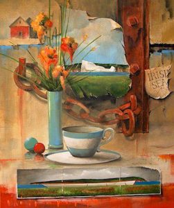 "SOLD ""After Tea,"" by Mark Fletcher 20 x 24 – acrylic $2000 Framed"