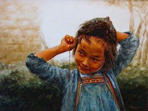 "SOLD ""Ai Mei,"" by Donna Zhang 30 x 40 – oil $6750 Framed"