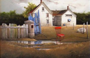 "SOLD ""Airing Out the Drying House,"" by Mark Fletcher 24 x 36 – acrylic $2600 Framed"